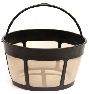 1 X THE ORIGINAL GOLDTONE BRAND Reusable Basket-style 10-12 Cup Coffee Filter with Screen Bottom