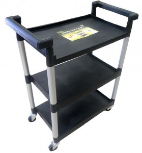 39 Tall Service Cart On Wheels With 3 Shelves