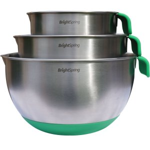 BrightSpring Mixing Bowls - 3-piece Stainless Steel Set - Rubber Bottom