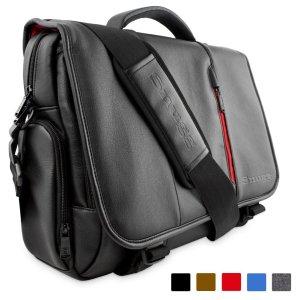 Laptop Bag, Snugg™ Crossbody Shoulder Messenger Bag in Black Leather