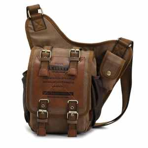 Mens Boys Vintage Canvas Shoulder Military Messenger Bag Sling School Bags Chest Military Leather Patchwork Messenger Bag(Khaki)- Great Christmas Birthday Gift for Families and Friends