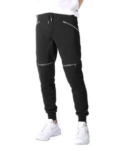 JD Apparel Mens Hipster Hip Hop Zipper Detailed Biker Sweatpants