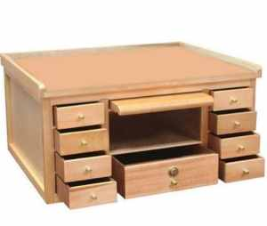 Jewelry Making Countertop Wood Tool Work Bench - 9 Drawers w Lock