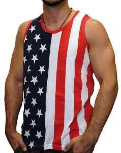 Mens Stars & Stripes American Flag Tank Top Shirt (RedWhiteBlue)