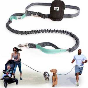 Black Rhino - Premium Hands Free Dog Leash for Running Walking Hiking - Durable Dual Handle Bungee Leash - Reflective Adjustable Waist Belt Fits up to 48 Waist - Double Side Mesh Pouch