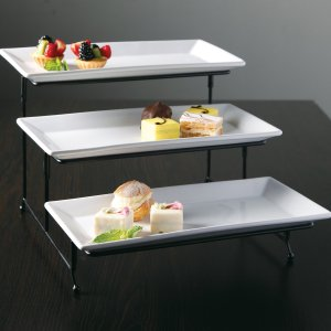 ChefLand 3 Tier Rectangular Serving Platter, Three Tiered Cake Tray, Dessert Stand, Food Server Display Plate Rack, White
