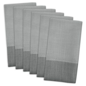 DII 100% Polyester, Machine Washable, Tonal Bordered Fabric Napkins, 17 X 17, Gray, Set of 6