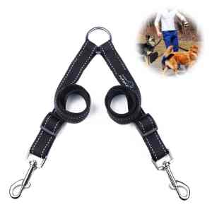 Double Dog Leash Coupler, PETBABA Reflective Adjustable Training Dog Lead for 2 Dogs