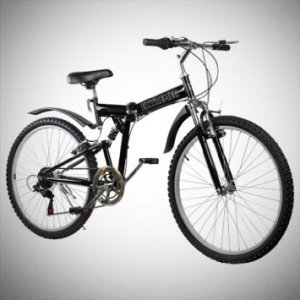 New 26 Folding Mountain Bike Foldable Bicycle 6 SP Speed Shimano, Black Color