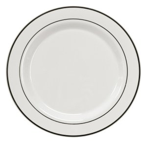 Party Essentials N278020 White Plastic Plates with Silver Rim, 6, White with Silver (Case of 144)