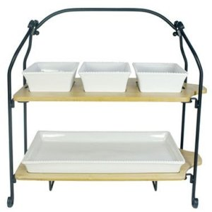 Stoneware and Bamboo 2-Tier Oversized Serveware Set
