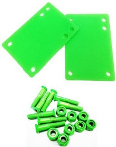 2pcs of 18 (3mm) Skateboard Riser Pads +1 Hardware Screws 8 pcs