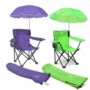 A Set of Boys Girls Beach Baby® Kids Camp Chairs with Carry Umbrella and matching tote bag combo with cup holder Green Purple