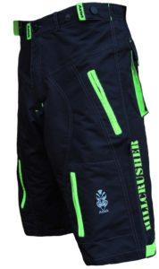 Astek Men's Neon Green Black MTB Baggy Padded Mountain Bike Shorts