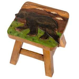Bear in Mountains Design Hand Carved Acacia Hardwood Decorative Short Stool
