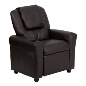 Flash Furniture DG-ULT-KID-BRN-GG Contemporary Brown Vinyl Kids Recliner with Cup Holder and Headrest