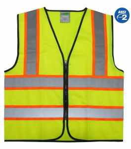 GripGlo TLS-145 Super High Visibility Reflective Safety Vest Neon Lime Zipper Front, 2 Reflective Strips With ORANGE TRIM For MAXIMUM VISIBILITY