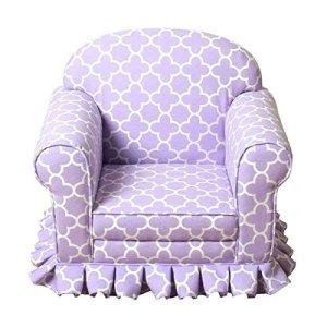 HomePop Juvenile Geometric Lavender Skirted Arm Chairs