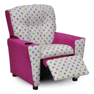 Kidz World Bubble Gum Spring Kid's Recliner with Cup Holder, Pink Suede