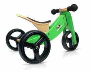 Kinderfeets Tiny Tot Green Wooden Balance BikeTricycle
