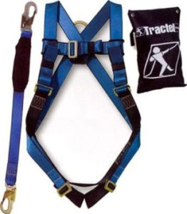 Tractel Safety Fall Protection Kit, Full Body Harness, with 6' Shock-absorbing Lanyard with 34 Snap Hook (Universal size -up to 42 waist)