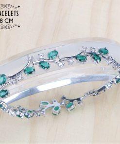 Ensemble Parure + Bracelet + Boucles D'Oreilles En Argent 925 Et Zircone Vert 1