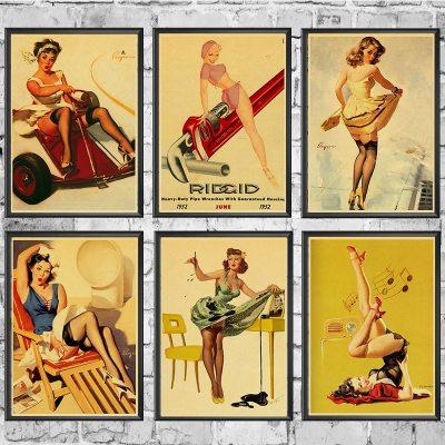 Affiches Vintage Pin up Rétro Pour Décoration Intérieur