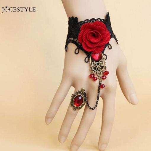 Ensemble Style Gothique Dentelle Rouge Avec Rose + Bague Et Parures De Perles