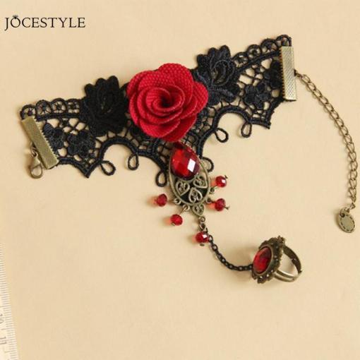 Ensemble Style Gothique Dentelle Rouge Avec Rose + Bague Et Parures De Perles 1