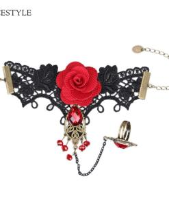 Ensemble Style Gothique Dentelle Rouge Avec Rose + Bague Et Parures De Perles 3