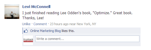 Optimize book by Lee Odden Facebook comment