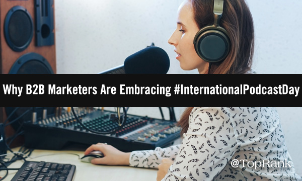 Professional B2B marketer woman at microphone image.