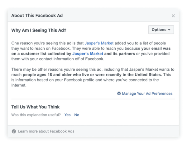 New Facebook Ad Disclaimer