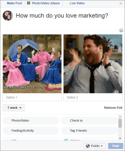 Facebook Polls with GIFs Example
