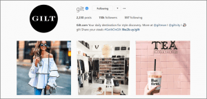Gilt on Instagram