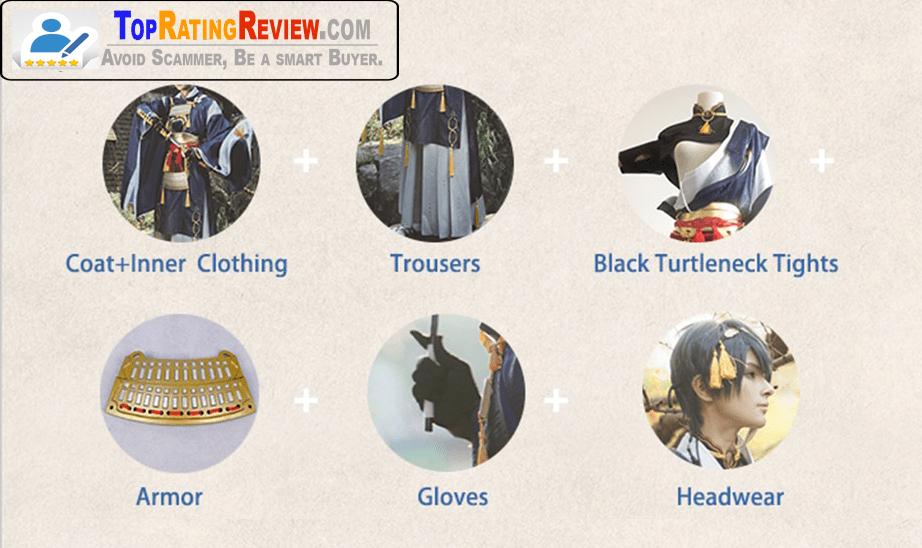 Touken Ranbu anime cosplay costumes -Mikazuki Munechika Cosplay blue Samurai Anime costumes for Men