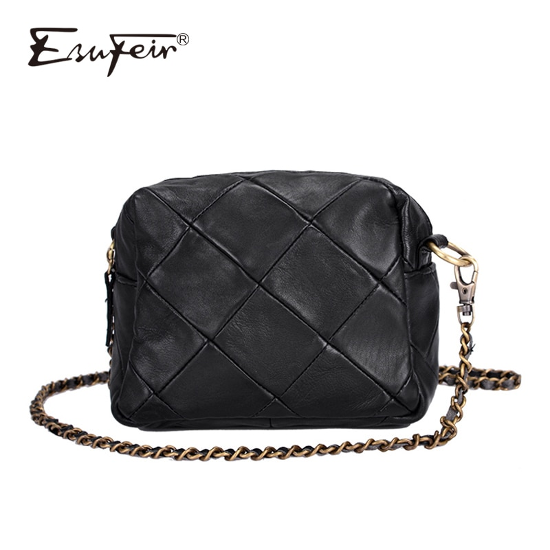 New Arrival Genuine Leather Women Crossbody Bag Patchwork Sheepskin Leather Shoulder Bag Chain Luxury Handbags Small Women Bags