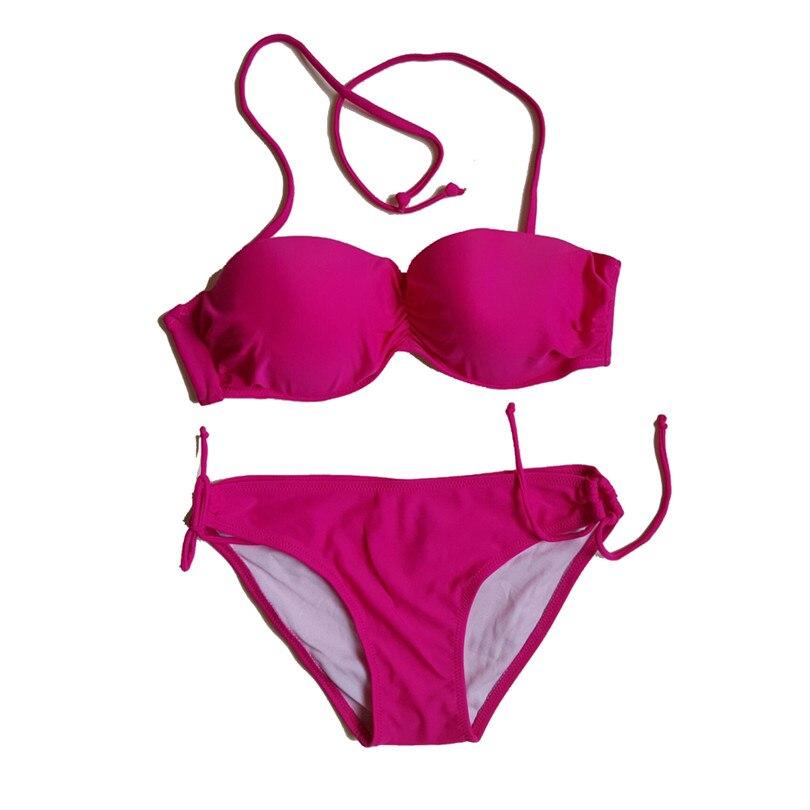 halter bikini Korean Solid Color Bikini Set Sexy Thin Female Candy Color Hot Spring Swimsuit Push up Underwire Swimwear DK13