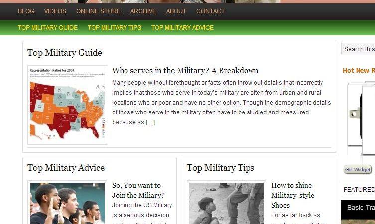 Screenshot of TopMilitaryGuide.com