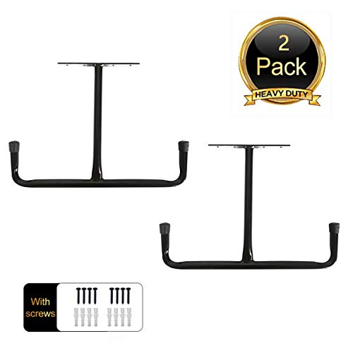 Overhead Garage Storage Rack - Heavy Duty Double Ceiling Hooks Utility Mounted Hangers 165 Arm Length 2 Pack Black