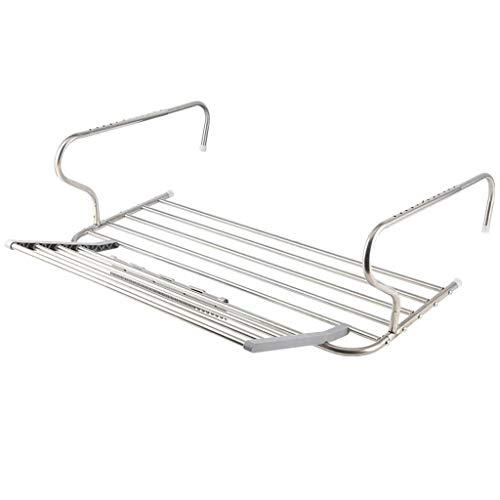 TONGSH Stainless Steel Hanging Dish Drying Rack Retractable Closet Rod and Clothes Rack Wall Mounted Clothes Hanger Drying Rack for Laundry Room Closet Storage Organization Size  80x37cm