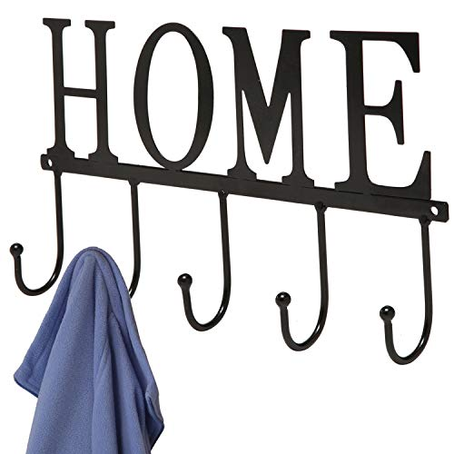 Decorative Home Design Black Wall Mounted Metal 5 Coat Hooks ClothingTowel Hanger Garment Rack