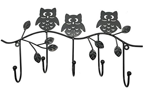 Owlgift Decorative Tree Branch Owls Wall Mounted Metal 5 Coat Hook ClothingTowel Hanger Storage Rack