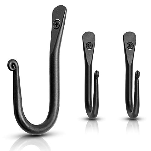 Wall Mounted Hook - Wrought Iron Decorative Blacksmith Handmade Simple Iron Hook for Bathroom and Kitchen Black Hooks for Hanging Robes Towels Coats Cloths Bags Keys and Jewelries - Pack of 3