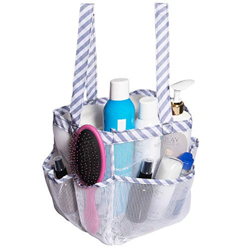 Attmu Portable Mesh Shower Caddy with 8 Storage Pockets Quick Dry Waterproof Shower Tote Bag Oxford Hanging Toiletry and Bath Organizer for Shampoo White Stripe