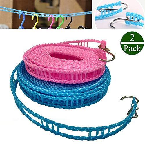2 PACK Nylon Clothesline Windproof Clothes Drying Rope Travel Clothes Line Portable Laundry Line Hanger Rope For Indoor Outdoor Camping Home Hotel Random Color Pack of 2 Clothesline3m 5m