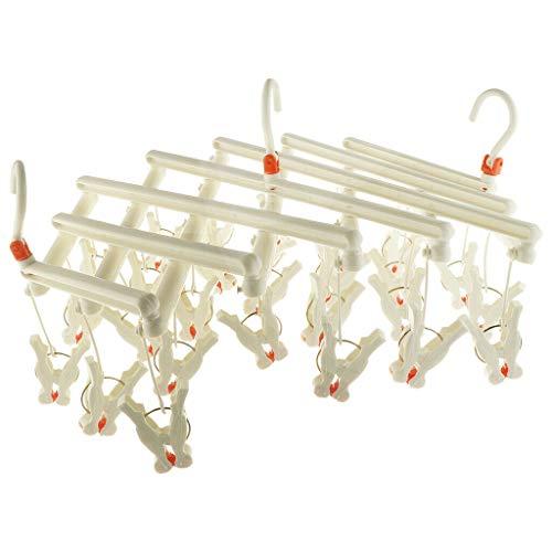 Loveso Plastic Hangers Retractable Laundry Rack Underwear Socks Hook Hanger 29 Clips White