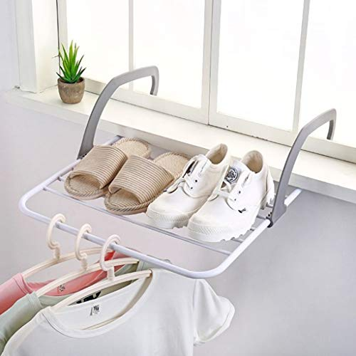 Clothes Drying Hanger Non-Slip Handle Folding Drying Rack Hanging Over The Door or Railing Portable Rack for Air Drying Laundry Indoor Outdoor Gray