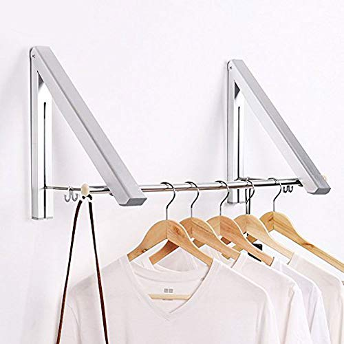 LANRCYO SRHOME IndoorOutdoor Wall Mounted Folding Clothes Drying Rack- Clothes Hanger -Aluminum Folding Clothes Hanger Hanging on BathroomBedroom Balcony and LaundryHome Storage Organizer 2 Pack