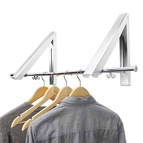 Maddott IndoorOutdoor Wall Mounted Folding Clothes Drying Rack- Clothes Hanger -Aluminum Folding Clothes Hanger Hanging on BathroomBedroom Balcony and LaundryHome Storage Organizer 2 Pack 80cm